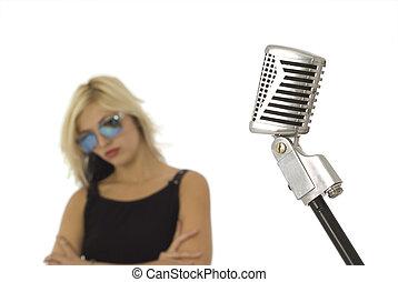 sonne, s�nger, brille, mikrophon, retro