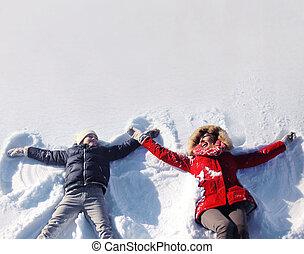 sonne, schnee, zusammen, sohn, mutter, spaß, faulenzend, haben