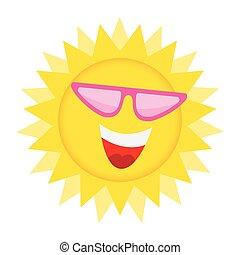 sonne, smile., glücklich, sonnenbrille, gesicht