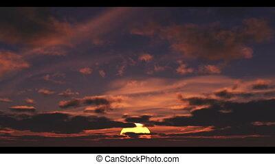 sonne, steigend, mit, wolkenhimmel, verabschiedung