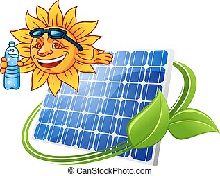 sonne, stil, karikatur, solarmodul