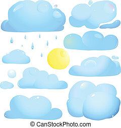 sonne, tropfen, wolkenhimmel, regen