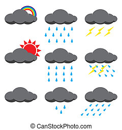 sonne, vektor, abbildung, regen