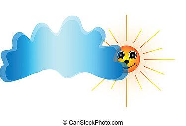 sonne, vektor, cloud.