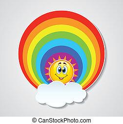 sonne, vektor, regenbogen, wolke