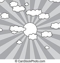 sonne, vektor, wolkenhimmel, himmelsgewölbe