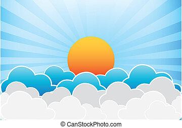 sonne, vektor, wolkenhimmel