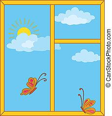 sonne, vlinders, fenster, himmelsgewölbe