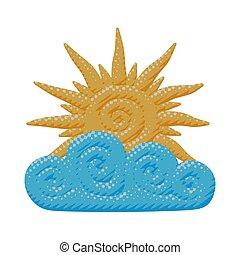 sonne, warm, wolke, strahlen, gelber , freigestellt, himmelsgewölbe, karikatur