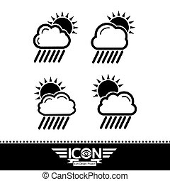sonne, wolke, regen, ikone