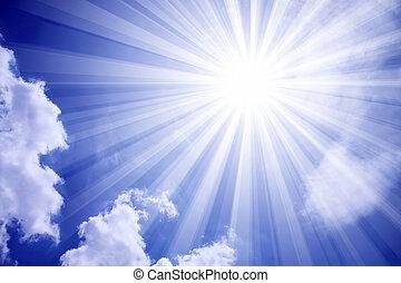 sonne, wolkenhimmel, himmelsgewölbe
