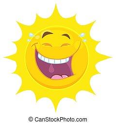 sonne, zeichen, gelbes gesicht, lachender, lächeln, ausdruck, karikatur, emoji