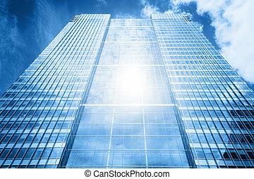 sonne, zurückwerfend, in, modernes geschäft, wolkenkratzer,...
