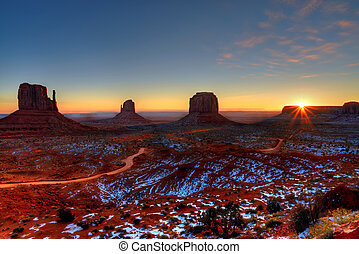sonnenaufgang, arizona, denkmal tal