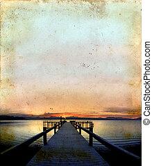 sonnenaufgang, auf, dock, grunge, hintergrund