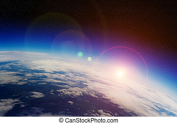 sonnenaufgang, aus, planet erde, in, raum