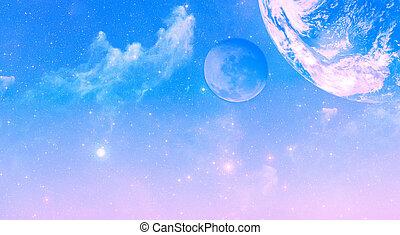 sonnenaufgang, himmelsgewölbe, mit, sternen, nebelflecke, und, planeten, hintergrund
