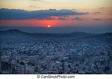sonnenaufgang, in, bethlehem, palästina, israel