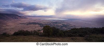 sonnenaufgang, in, der, ngorongoro krater