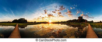 sonnenaufgang, see, panorama