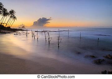 sonnenaufgang, strand, in, sri lanka