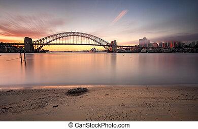 sonnenaufgang, sydney, cityscape, australia