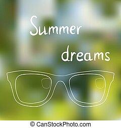 sonnenbrille, auf, hell, sommer, hintergrund, sommer, verband, träume, über, sommer