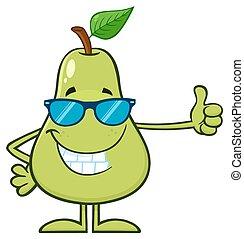 sonnenbrille, daumen, geben, birne, zeichen, auf, fruechte, grün, karikatur, maskottchen