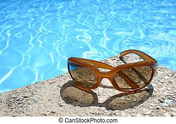 sonnenbrille, per, teich