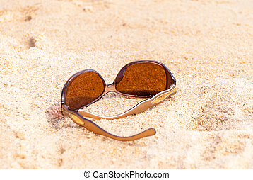 sonnenbrille, strand, bei, der, meer