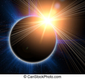 sonnenfinsternis, auf, a, schwarzer hintergrund