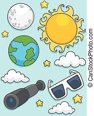 sonnenkollektoren, elemente, finsternis, lunare illustration