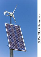 sonnenkollektoren, und, wind- energie