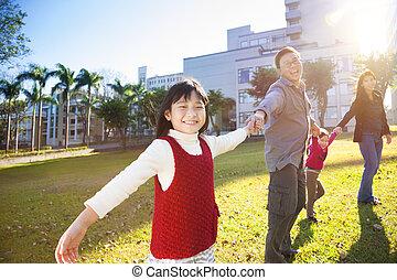 sonnenlicht, schule, hintergrund, familie, glücklich