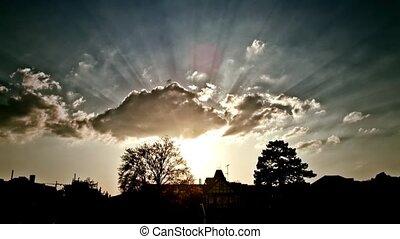 Sonnenstrahlen,  Timelapse, Sonnenuntergang