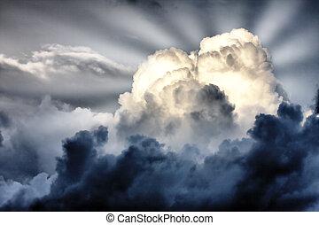 sonnenstrahlen, wolkenhimmel, sturm, whith