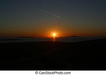 sonnenuntergang, adriatisches meer, kroatien