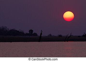 Sonnenuntergang, afrikanisch