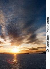 sonnenuntergang, auf, frozen lake