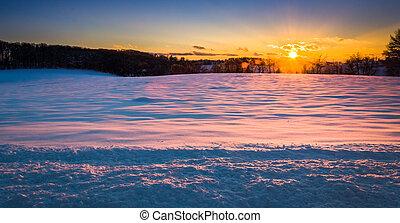 sonnenuntergang, aus, a, schneebedeckte , feld, in, ländlich, york, grafschaft, pennsylvania.