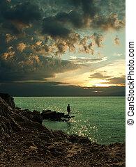 sonnenuntergang, aus, der, adriatisches meer