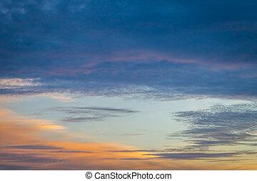 sonnenuntergang, blauer himmel