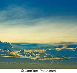 sonnenuntergang, blauer himmel, und, wolkenhimmel, hintergruende