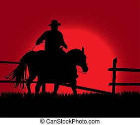 sonnenuntergang, cowboy, aus