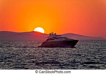 sonnenuntergang, episch, yacht, meer