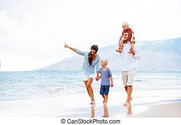 sonnenuntergang, familie, glücklich