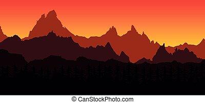 sonnenuntergang, felsig, hintergrund, landschaftsbild, berge