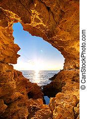sonnenuntergang, grotte