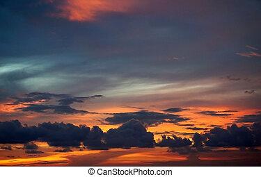 Sonnenuntergang, himmelsgewölbe, Wolke