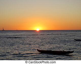 sonnenuntergang, horizont, pazifischer ozean